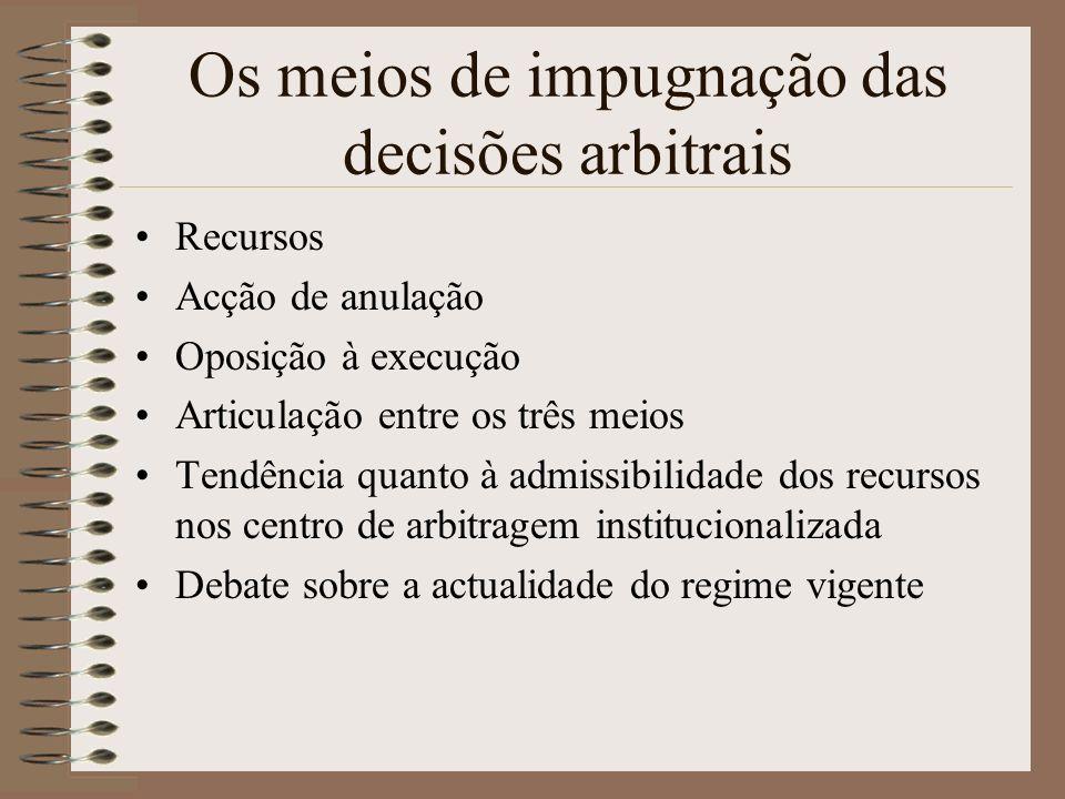 Os meios de impugnação das decisões arbitrais Recursos Acção de anulação Oposição à execução Articulação entre os três meios Tendência quanto à admiss