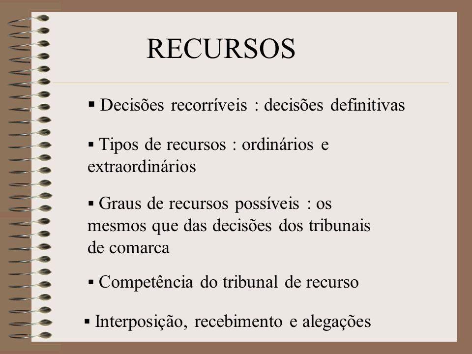 Decisões recorríveis : decisões definitivas Tipos de recursos : ordinários e extraordinários Graus de recursos possíveis : os mesmos que das decisões