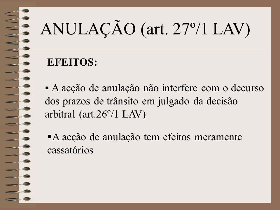 ANULAÇÃO (art. 27º/1 LAV) EFEITOS: A acção de anulação não interfere com o decurso dos prazos de trânsito em julgado da decisão arbitral (art.26º/1 LA