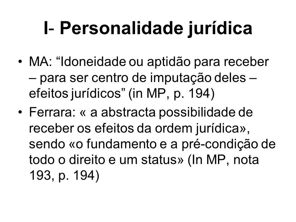 I- Personalidade jurídica MA: Idoneidade ou aptidão para receber – para ser centro de imputação deles – efeitos jurídicos (in MP, p. 194) Ferrara: « a