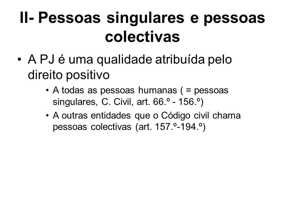 II- Pessoas singulares e pessoas colectivas A PJ é uma qualidade atribuída pelo direito positivo A todas as pessoas humanas ( = pessoas singulares, C.