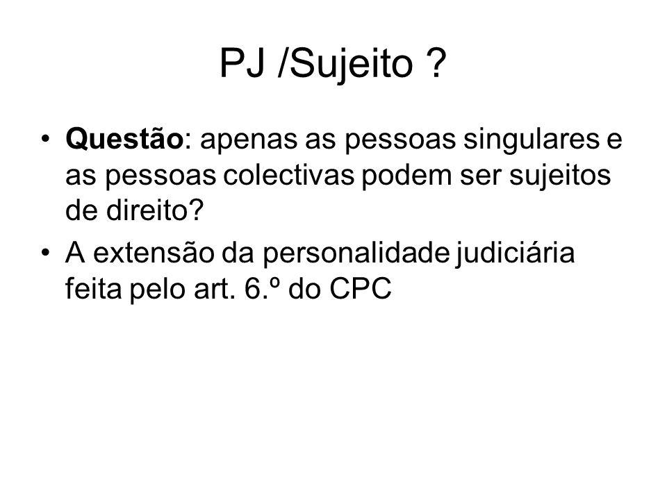 PJ /Sujeito ? Questão: apenas as pessoas singulares e as pessoas colectivas podem ser sujeitos de direito? A extensão da personalidade judiciária feit
