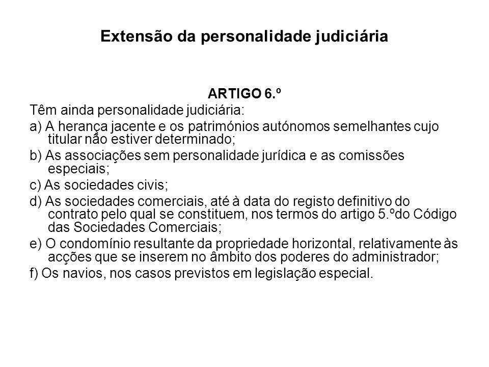 Extensão da personalidade judiciária ARTIGO 6.º Têm ainda personalidade judiciária: a) A herança jacente e os patrimónios autónomos semelhantes cujo t