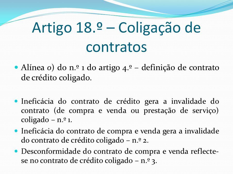 Artigo 18.º – Coligação de contratos Alínea o) do n.º 1 do artigo 4.º – definição de contrato de crédito coligado.