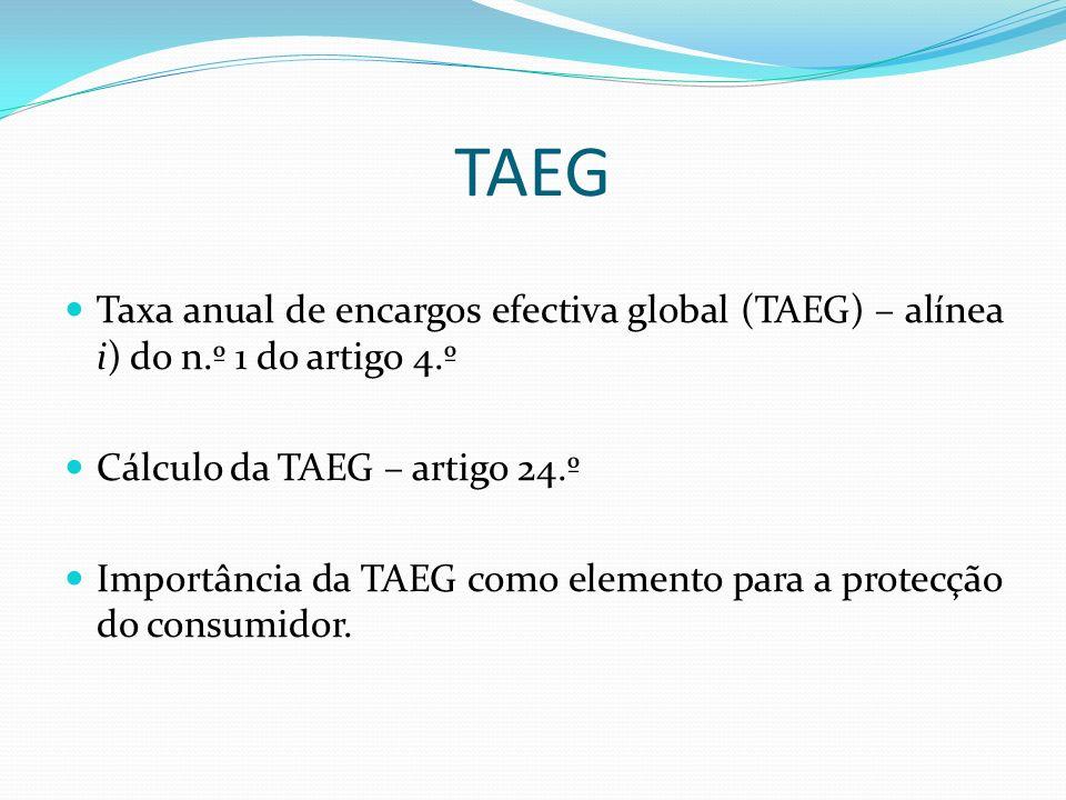 Artigo 5.º - Publicidade Indicação da TAEG de forma legível e perceptível para o consumidor.