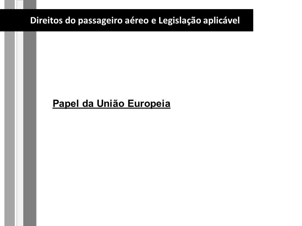 Papel da União Europeia Direitos do passageiro aéreo e Legislação aplicável