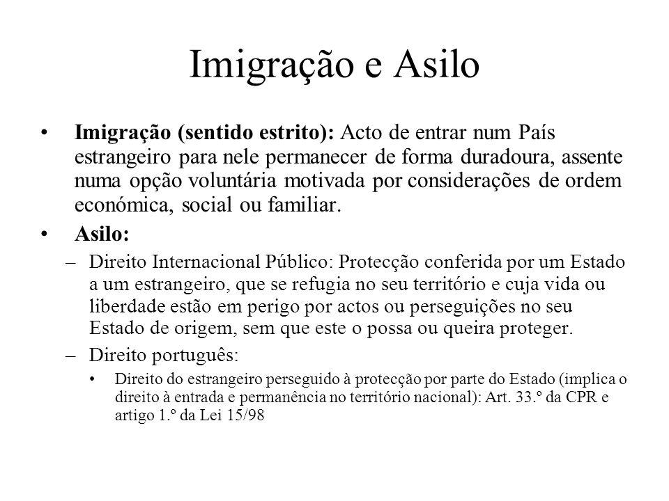 Imigração e Asilo Imigração (sentido estrito): Acto de entrar num País estrangeiro para nele permanecer de forma duradoura, assente numa opção voluntá