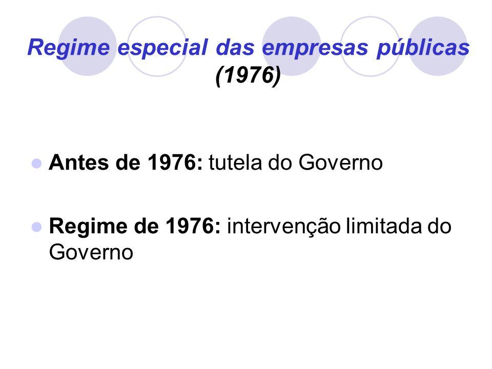 Regime especial das empresas públicas (1976) Antes de 1976: tutela do Governo Regime de 1976: intervenção limitada do Governo