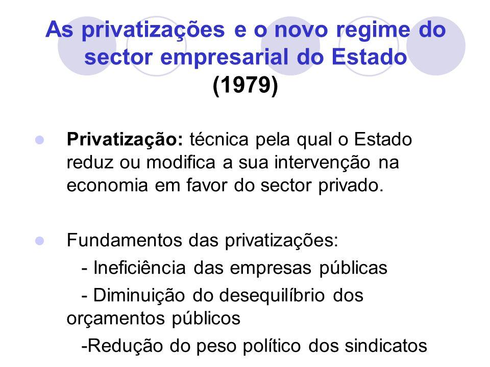 As privatizações e o novo regime do sector empresarial do Estado (1979) Privatização: técnica pela qual o Estado reduz ou modifica a sua intervenção na economia em favor do sector privado.