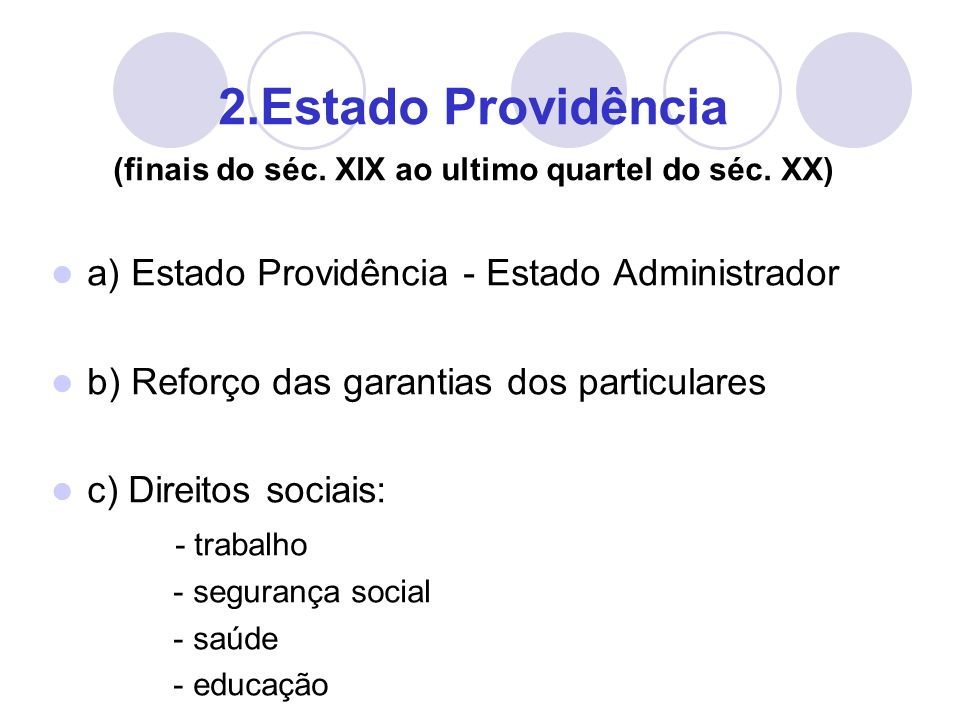 2.Estado Providência (finais do séc. XIX ao ultimo quartel do séc.