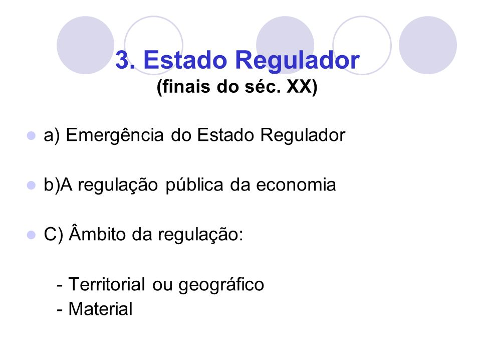 3. Estado Regulador (finais do séc.