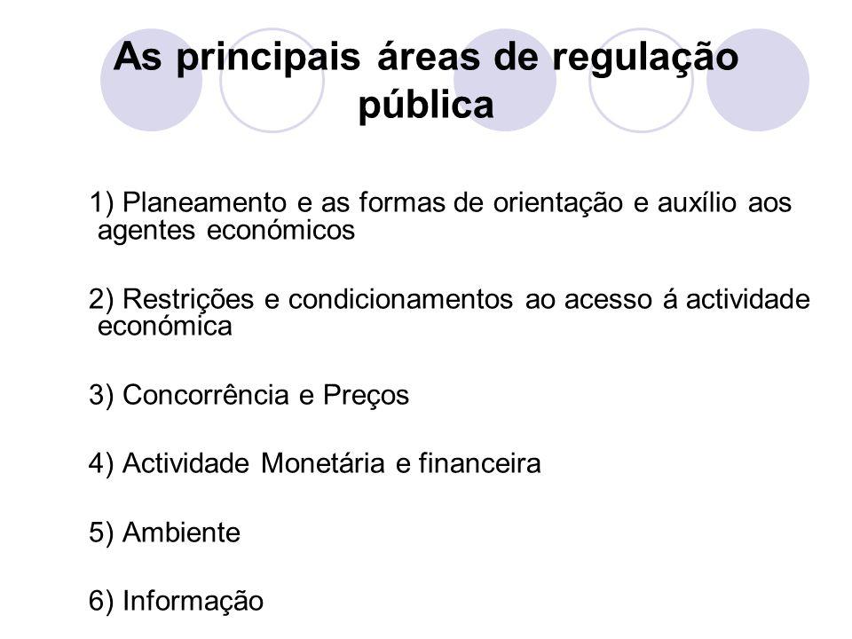 As principais áreas de regulação pública 1) Planeamento e as formas de orientação e auxílio aos agentes económicos 2) Restrições e condicionamentos ao acesso á actividade económica 3) Concorrência e Preços 4) Actividade Monetária e financeira 5) Ambiente 6) Informação