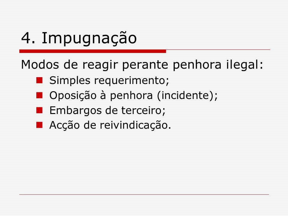 4. Impugnação Modos de reagir perante penhora ilegal: Simples requerimento; Oposição à penhora (incidente); Embargos de terceiro; Acção de reivindicaç
