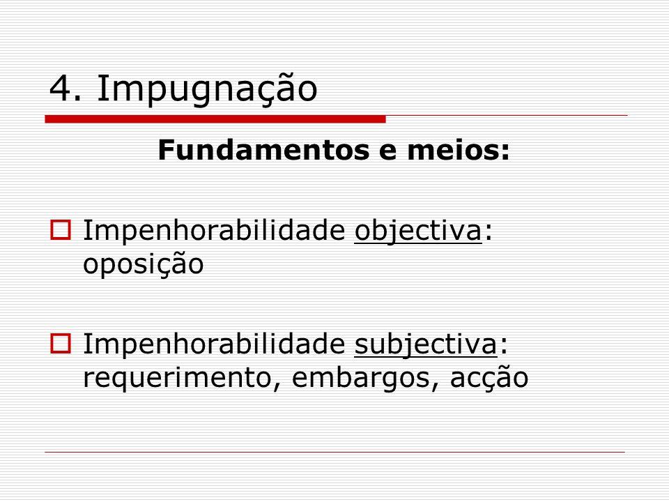 4. Impugnação Fundamentos e meios: Impenhorabilidade objectiva: oposição Impenhorabilidade subjectiva: requerimento, embargos, acção