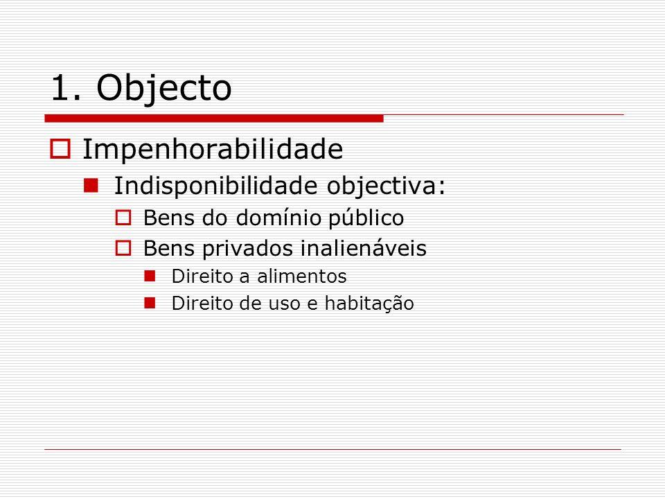 1. Objecto Impenhorabilidade Indisponibilidade objectiva: Bens do domínio público Bens privados inalienáveis Direito a alimentos Direito de uso e habi