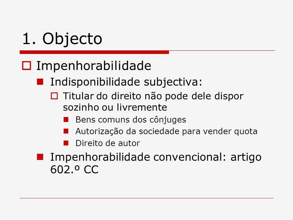 1. Objecto Impenhorabilidade Indisponibilidade subjectiva: Titular do direito não pode dele dispor sozinho ou livremente Bens comuns dos cônjuges Auto