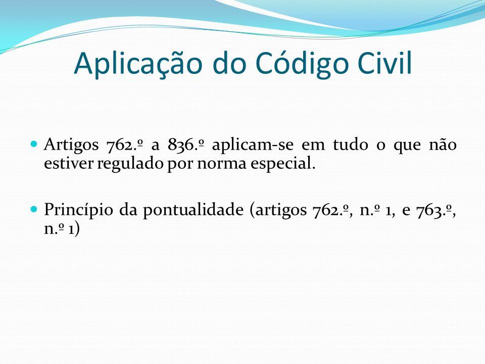 Aplicação do Código Civil Artigos 762.º a 836.º aplicam-se em tudo o que não estiver regulado por norma especial. Princípio da pontualidade (artigos 7