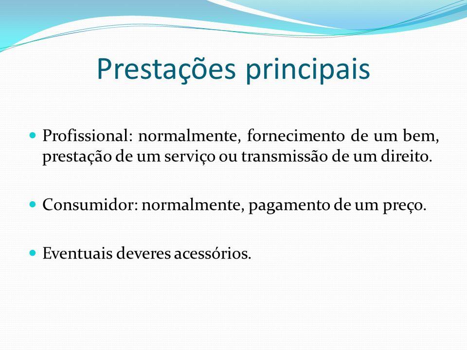 Prestações principais Profissional: normalmente, fornecimento de um bem, prestação de um serviço ou transmissão de um direito. Consumidor: normalmente