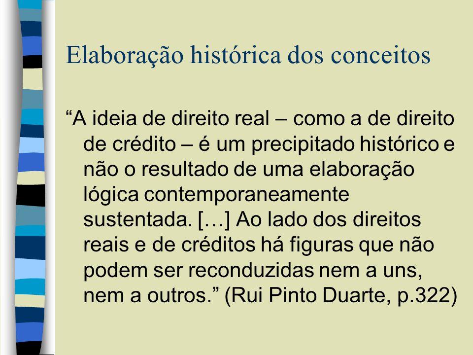 Elaboração histórica dos conceitos A ideia de direito real – como a de direito de crédito – é um precipitado histórico e não o resultado de uma elabor