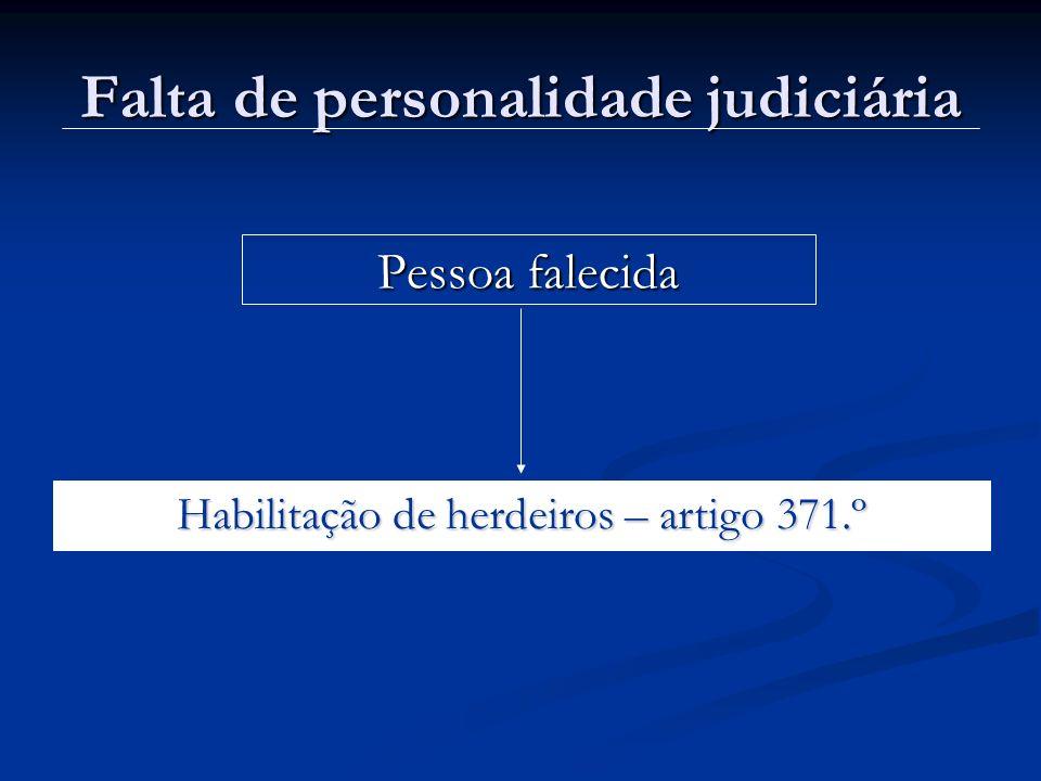 Falta de personalidade judiciária Pessoa falecida Habilitação de herdeiros – artigo 371.º