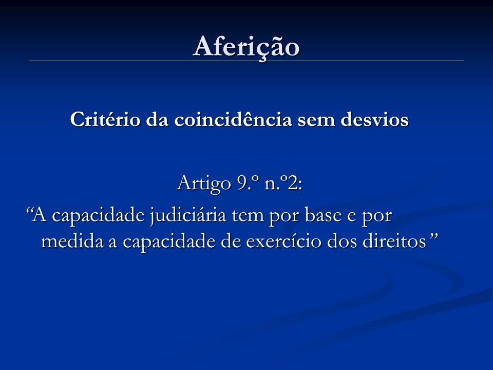 Aferição Critério da coincidência sem desvios Artigo 9.º n.º2: A capacidade judiciária tem por base e por medida a capacidade de exercício dos direito