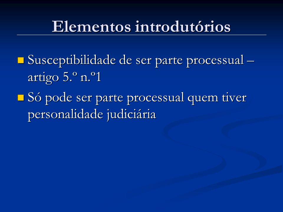 Elementos introdutórios Susceptibilidade de ser parte processual – artigo 5.º n.º1 Susceptibilidade de ser parte processual – artigo 5.º n.º1 Só pode