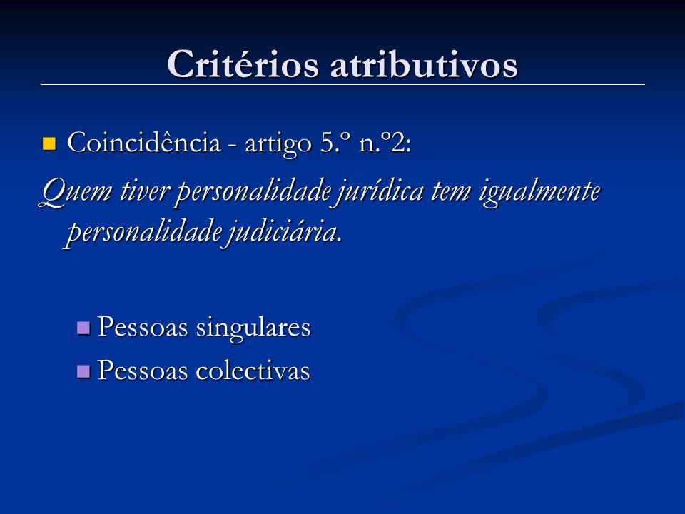 Critérios atributivos Coincidência - artigo 5.º n.º2: Coincidência - artigo 5.º n.º2: Quem tiver personalidade jurídica tem igualmente personalidade j