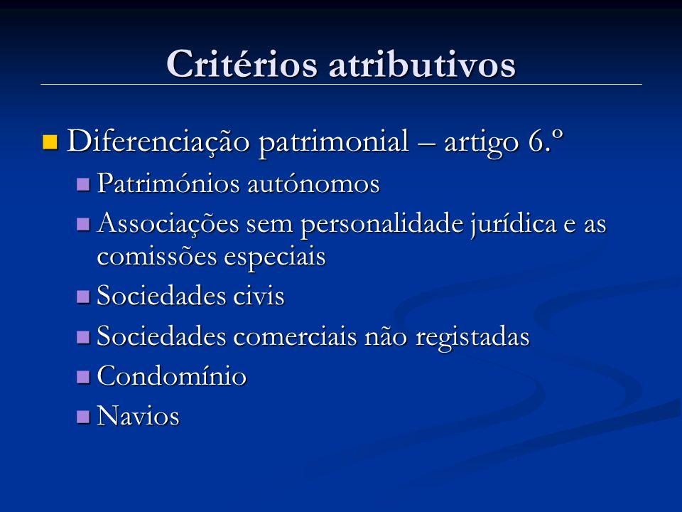 Critérios atributivos Critério da diferenciação patrimonial Enumeração do artigo 6.º é taxativa.