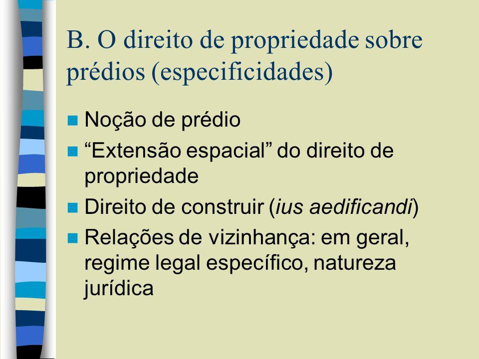 B. O direito de propriedade sobre prédios (especificidades) Noção de prédio Extensão espacial do direito de propriedade Direito de construir (ius aedi
