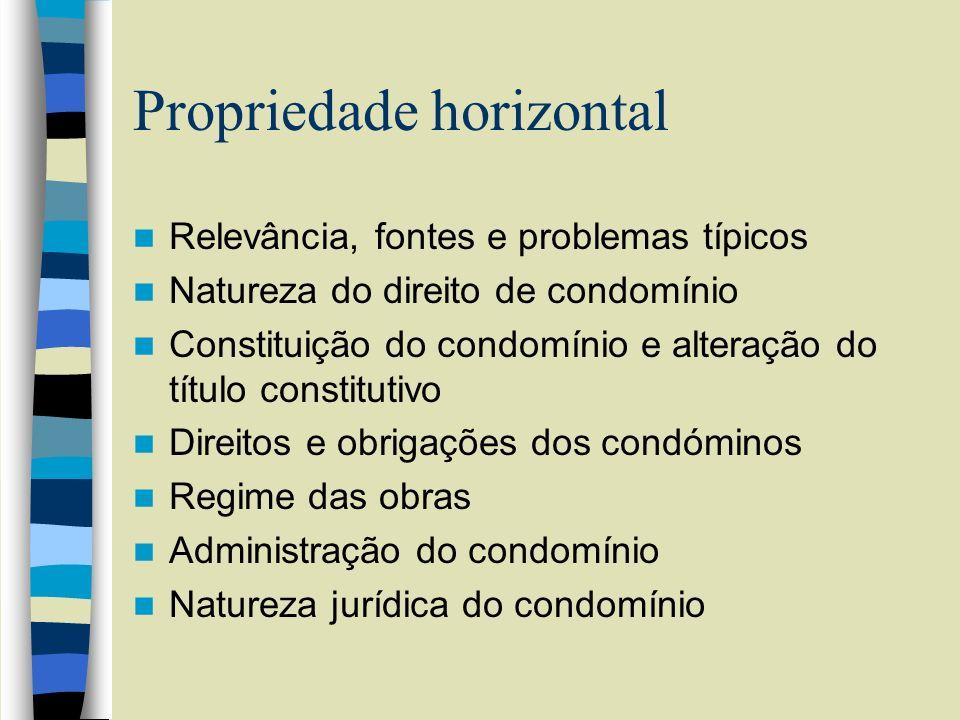 Propriedade horizontal Relevância, fontes e problemas típicos Natureza do direito de condomínio Constituição do condomínio e alteração do título const