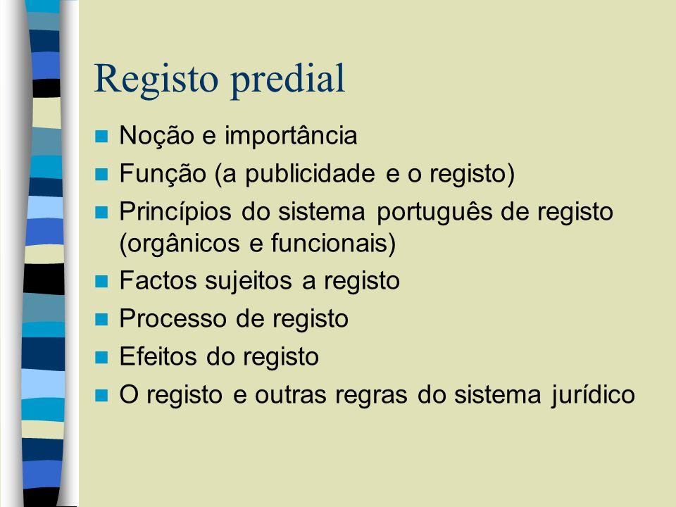 Registo predial Noção e importância Função (a publicidade e o registo) Princípios do sistema português de registo (orgânicos e funcionais) Factos suje