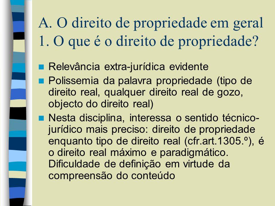 A. O direito de propriedade em geral 1. O que é o direito de propriedade? Relevância extra-jurídica evidente Polissemia da palavra propriedade (tipo d