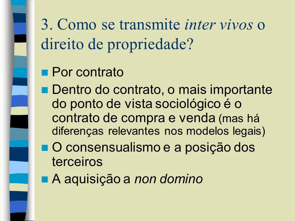 3. Como se transmite inter vivos o direito de propriedade? Por contrato Dentro do contrato, o mais importante do ponto de vista sociológico é o contra