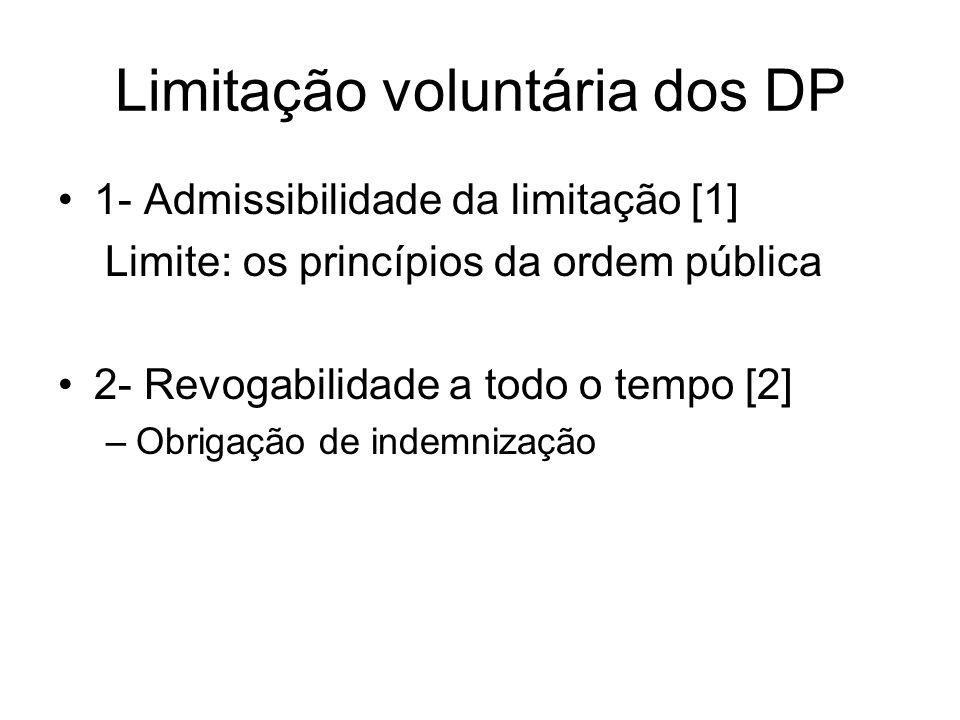 Limitação voluntária dos DP 1- Admissibilidade da limitação [1] Limite: os princípios da ordem pública 2- Revogabilidade a todo o tempo [2] –Obrigação