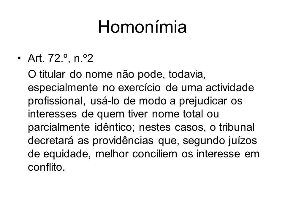 Homonímia Art. 72.º, n.º2 O titular do nome não pode, todavia, especialmente no exercício de uma actividade profissional, usá-lo de modo a prejudicar