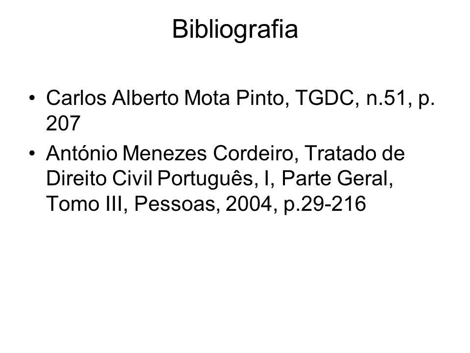 Bibliografia Carlos Alberto Mota Pinto, TGDC, n.51, p. 207 António Menezes Cordeiro, Tratado de Direito Civil Português, I, Parte Geral, Tomo III, Pes