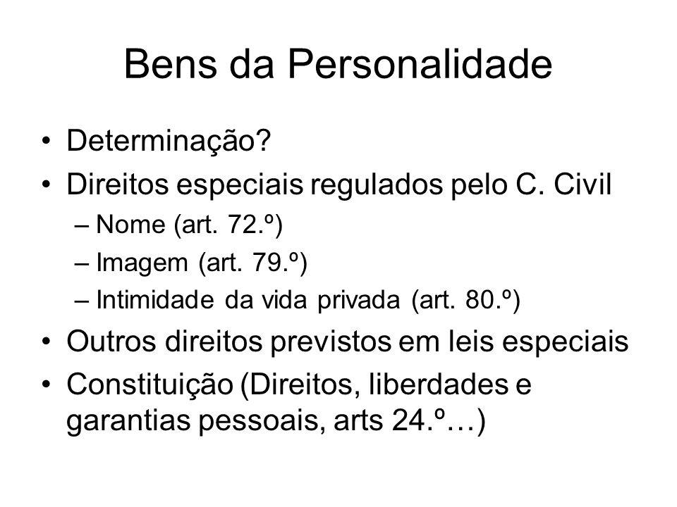 Bens da Personalidade Determinação? Direitos especiais regulados pelo C. Civil –Nome (art. 72.º) –Imagem (art. 79.º) –Intimidade da vida privada (art.