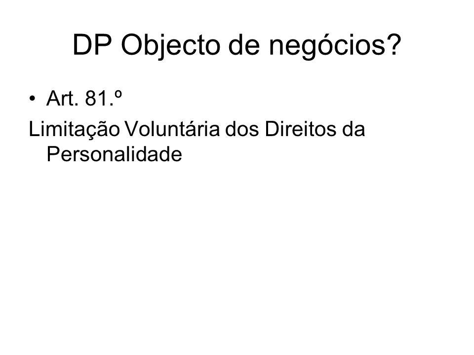 DP Objecto de negócios? Art. 81.º Limitação Voluntária dos Direitos da Personalidade