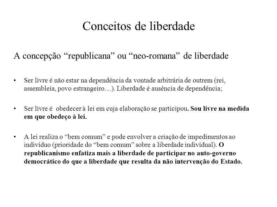 Conceitos de liberdade A concepção republicana ou neo-romana de liberdade Ser livre é não estar na dependência da vontade arbitrária de outrem (rei, a