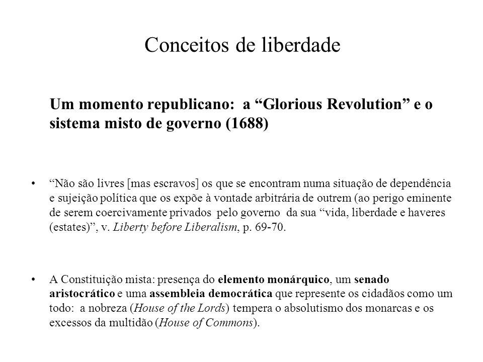 Conceitos de liberdade Um momento liberal: Thomas Hobbes (1588-1679) e o Leviathan para se ser livre enquanto membro de uma associação civil basta não se ser impedido de exercer as nossas capacidades e prosseguir os fins por nós desejados.