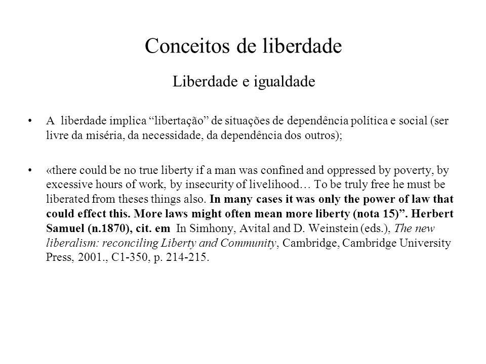 Conceitos de liberdade Liberdade e igualdade A liberdade implica libertação de situações de dependência política e social (ser livre da miséria, da ne