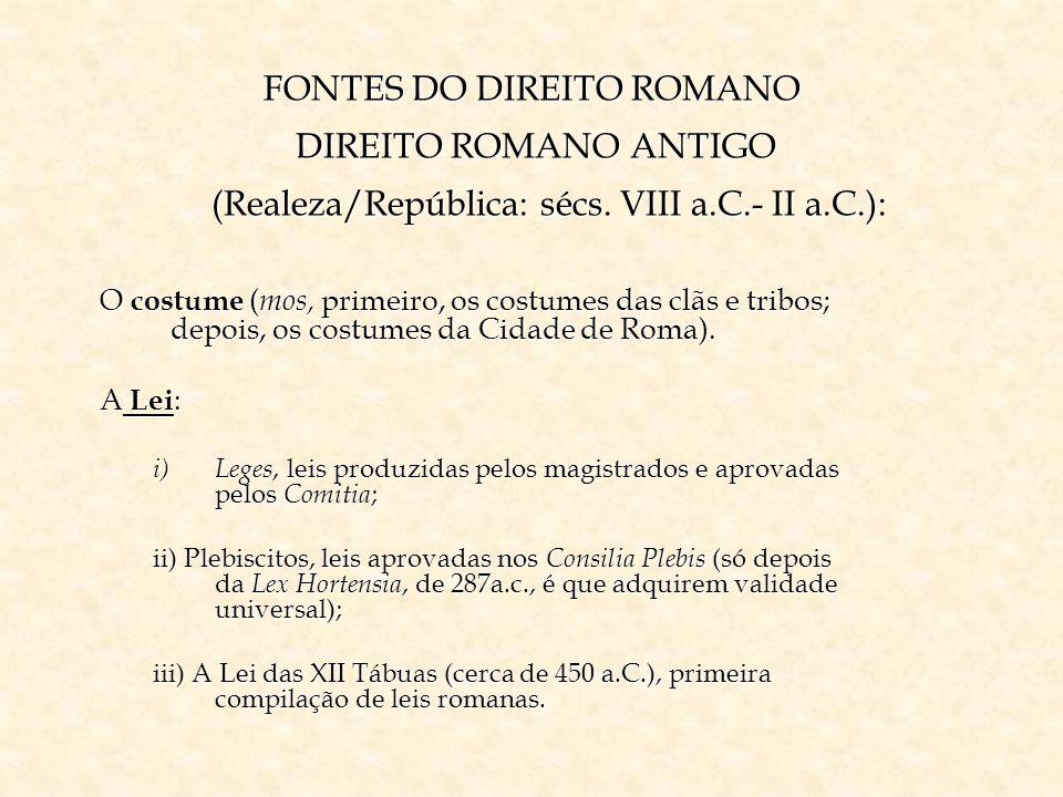FONTES DO DIREITO ROMANO DIREITO ROMANO ANTIGO (Realeza/República: sécs. VIII a.C.- II a.C.): O costume ( mos, primeiro, os costumes das clãs e tribos