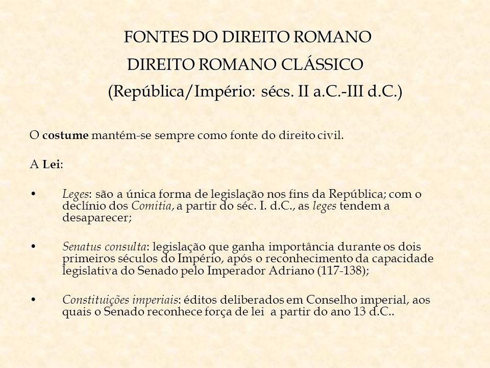 FONTES DO DIREITO ROMANO DIREITO ROMANO CLÁSSICO (República/Império: sécs. II a.C.-III d.C.) FONTES DO DIREITO ROMANO DIREITO ROMANO CLÁSSICO (Repúbli
