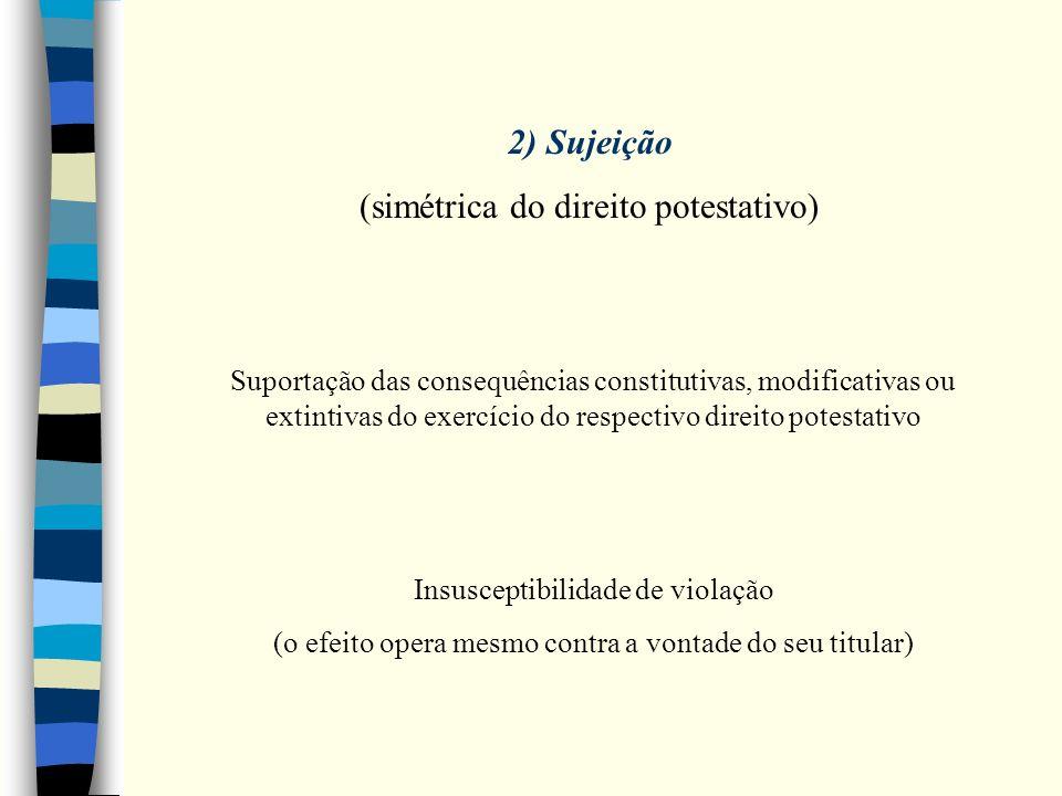 2) Sujeição (simétrica do direito potestativo) Suportação das consequências constitutivas, modificativas ou extintivas do exercício do respectivo dire