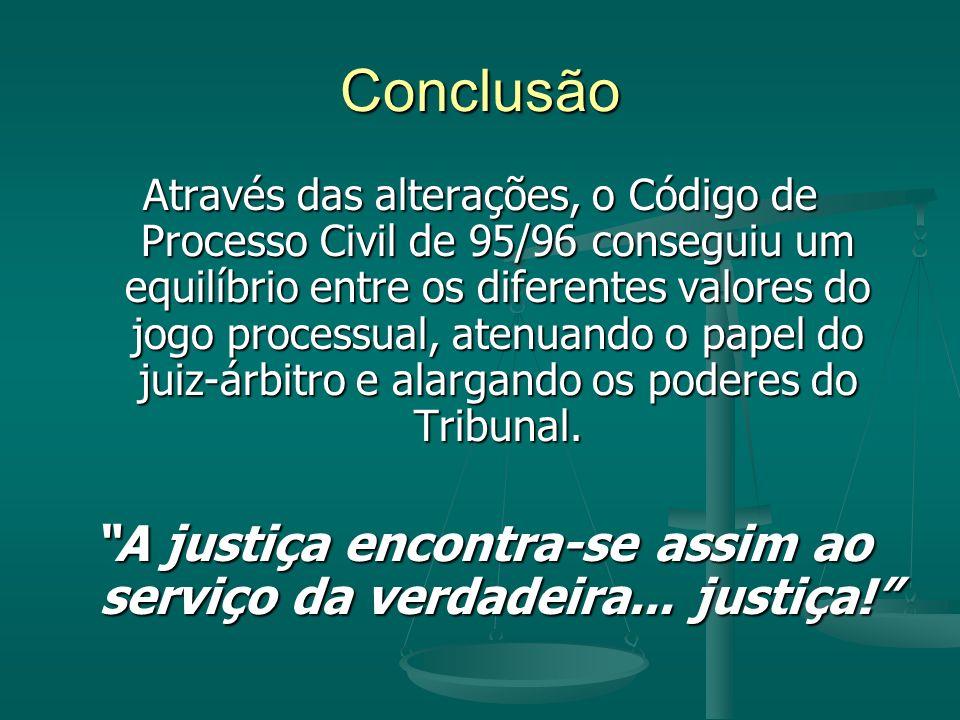 Conclusão Através das alterações, o Código de Processo Civil de 95/96 conseguiu um equilíbrio entre os diferentes valores do jogo processual, atenuando o papel do juiz-árbitro e alargando os poderes do Tribunal.