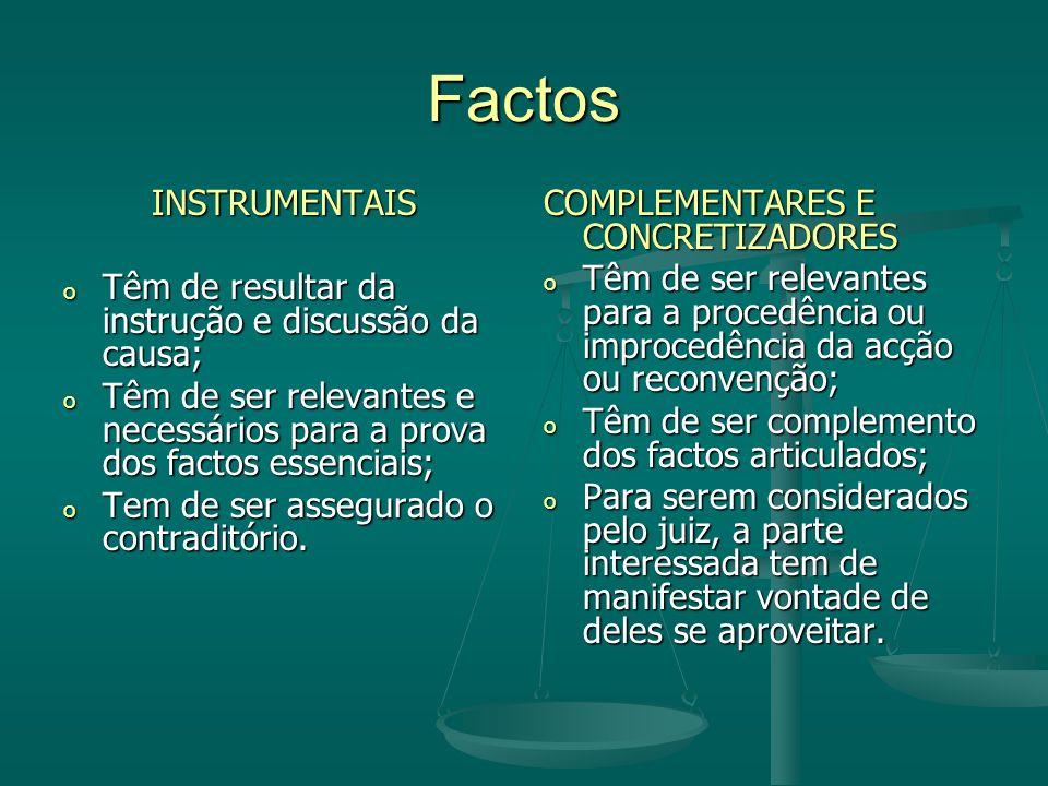 Factos INSTRUMENTAIS o Têm de resultar da instrução e discussão da causa; o Têm de ser relevantes e necessários para a prova dos factos essenciais; o Tem de ser assegurado o contraditório.