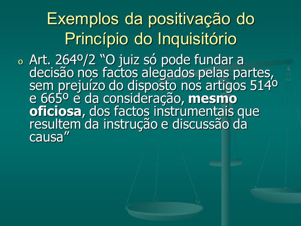 Exemplos da positivação do Princípio do Inquisitório o Art.