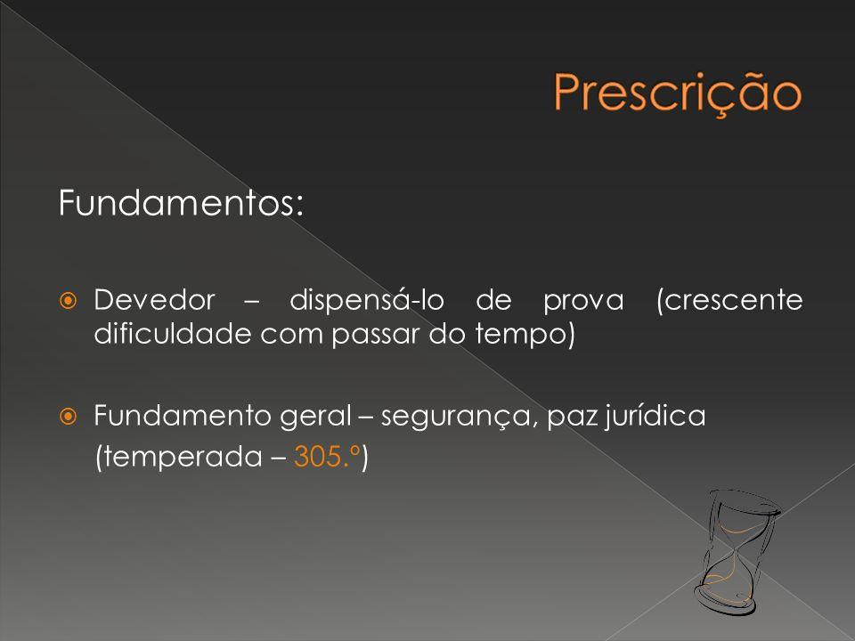 Fundamentos: Devedor – dispensá-lo de prova (crescente dificuldade com passar do tempo) Fundamento geral – segurança, paz jurídica (temperada – 305.º)