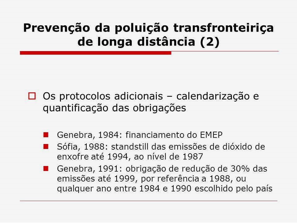 Prevenção da poluição transfronteiriça de longa distância (2) Os protocolos adicionais – calendarização e quantificação das obrigações Genebra, 1984: financiamento do EMEP Sófia, 1988: standstill das emissões de dióxido de enxofre até 1994, ao nível de 1987 Genebra, 1991: obrigação de redução de 30% das emissões até 1999, por referência a 1988, ou qualquer ano entre 1984 e 1990 escolhido pelo país