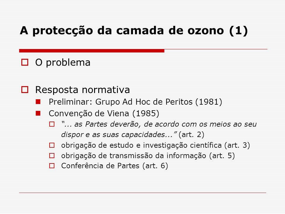 A protecção da camada de ozono (1) O problema Resposta normativa Preliminar: Grupo Ad Hoc de Peritos (1981) Convenção de Viena (1985)... as Partes dev